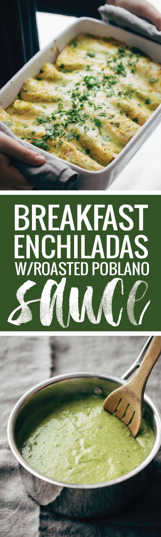 Breakfast Enchiladas with Roasted Poblano Sauce - filled with eggs, ground turkey, spicy potatoes and cheese. Perfect recipe for brunch!
