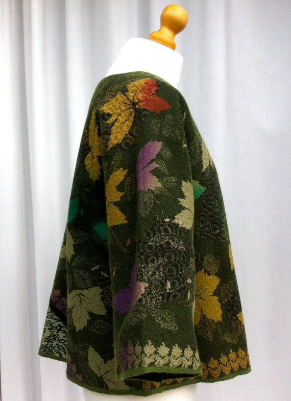 Hand Felted Merino Wool and Silk Kimono Style Jacket by VendaFelt