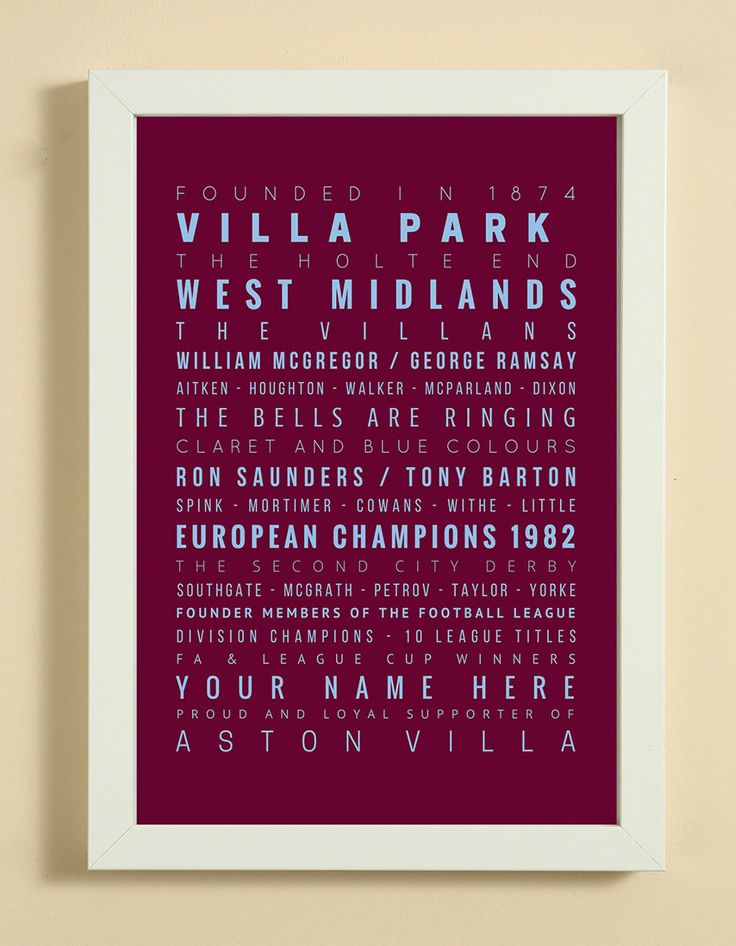 Aston Villa Football Club Word Art Design Print - Words, Names And Facts Associated With Aston Villa FC - In White Or Black A4 Box Frame