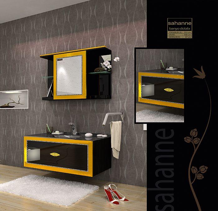Sarı siyah renkli, aynalı, oval lavabolu banyo dolabı