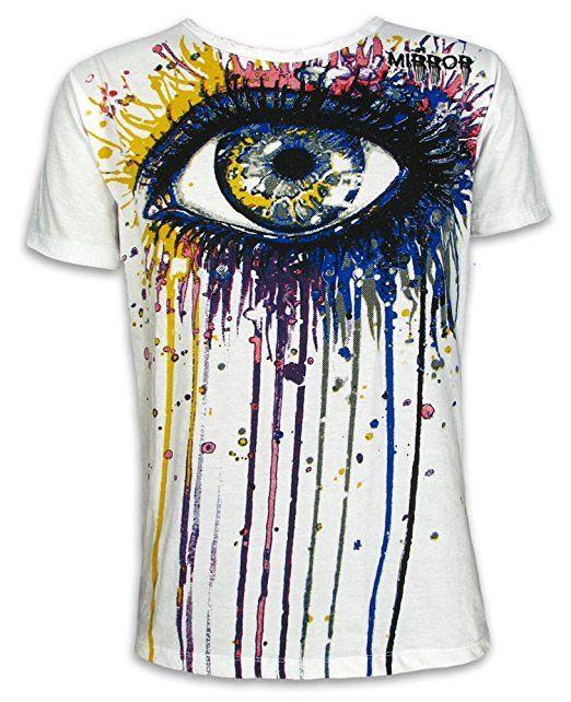 MIRROR Herren T-Shirt - Tränen der Farbe Größe M L XL Kunst Minimalism Ibiza Goa Bali Trance Techno Party (Weiss XL)
