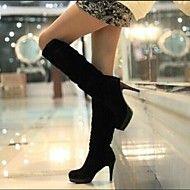 Stövlar ( Svart ) - till KVINNOR - Knähöga Stövlar - med Stiletto klack - Klackar/Rundtå/Stängd tå/Ridstövlar/Fashion Boots - i Imitationsmocka