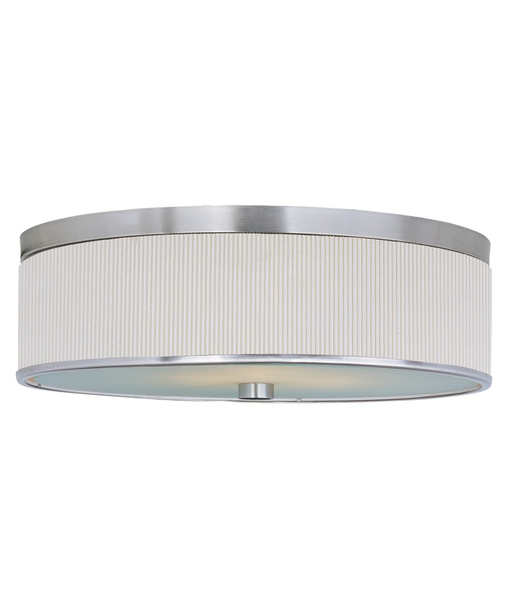 Satin Nickel Elements Contemporary Modern 3 Light Flush Mount Ceiling Fixture