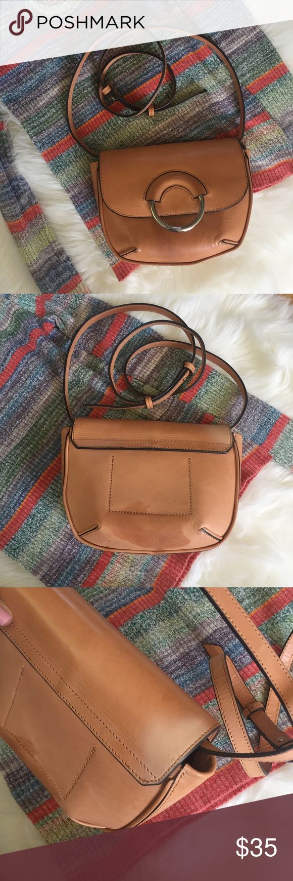 Leather Structured Crossbody Bag Banana Republic leather crossbody bag. Some light and dark spots on the bag but in overall good condition. Strap is adjustable. NO TRADES Banana Republic Bags Crossbody Bags