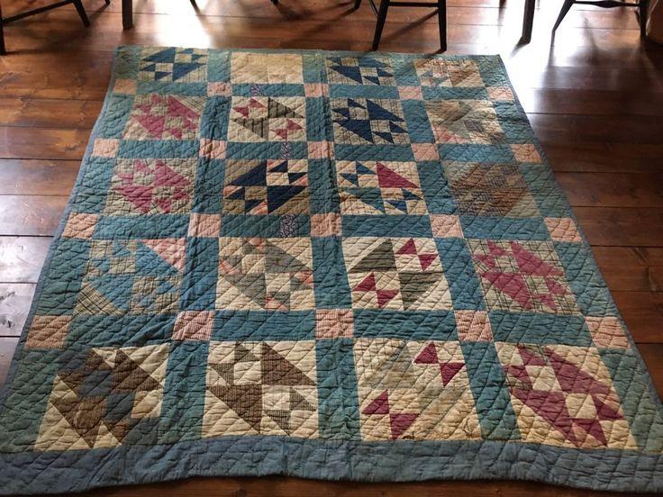Antique Quilt Blue Calico Quilt BEST Brown Early Homespun Back Textile AAFA #NaivePrimitive