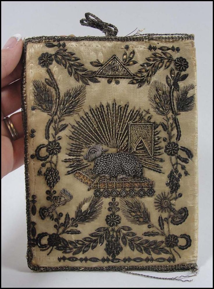 17th century embroidered silver & gold thread silk book cover