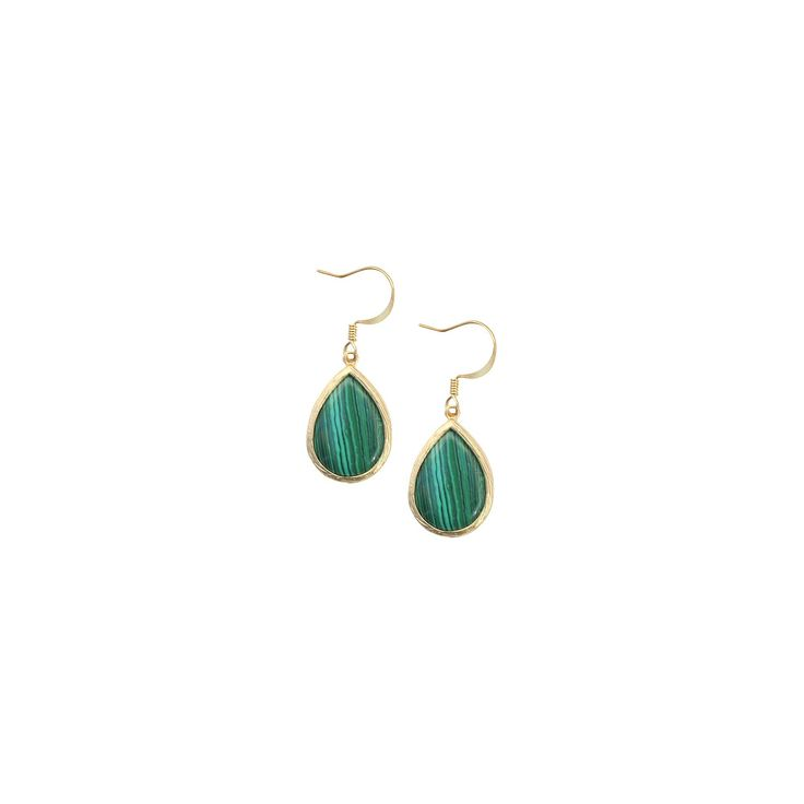 Malachite Fish Hook Earring - Green, Women's