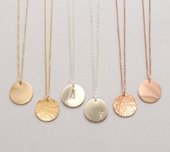 Large Disc Necklace Monogram, Initial, Personalized Circle Necklace, Gold Disc…
