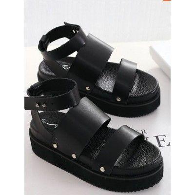 Fashion Style Rivets Leather Peep Toe Breathtaking Sandals Shoes