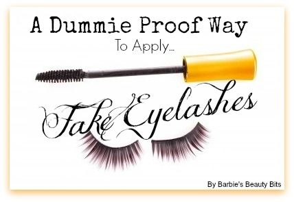 Here is a fool proof way on applying  fake eyelashes. Instead of spreading the glue on the lash, apply it to your upper lash line! By doing it this way, instead of applying glue to fake eyelash first, you'll be able to move the lash around, and it won't stick to places it shouldn't, by Barbie's Beauty Bits.