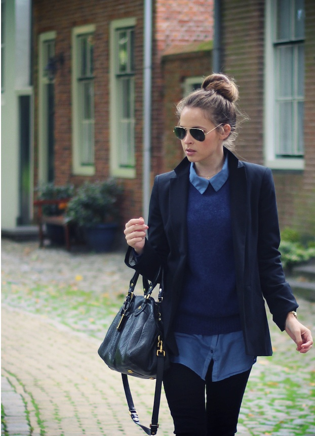 Navy blazer blue knit jeans shirt black pants outfit for Black shirt blue jeans