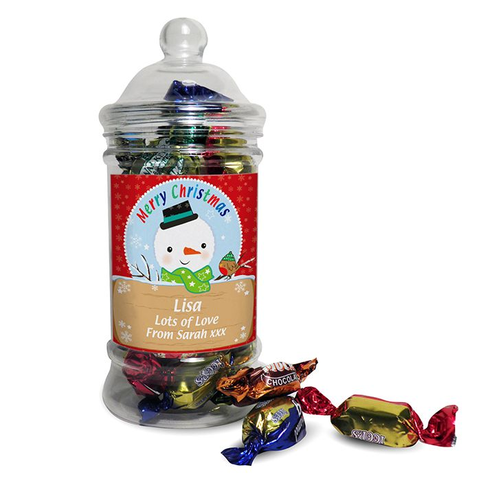 Personalised Snowman Toffee Jar This classic shaped sweet jar is filled with delicious toffees and soft centres a great stocking filler Personalise