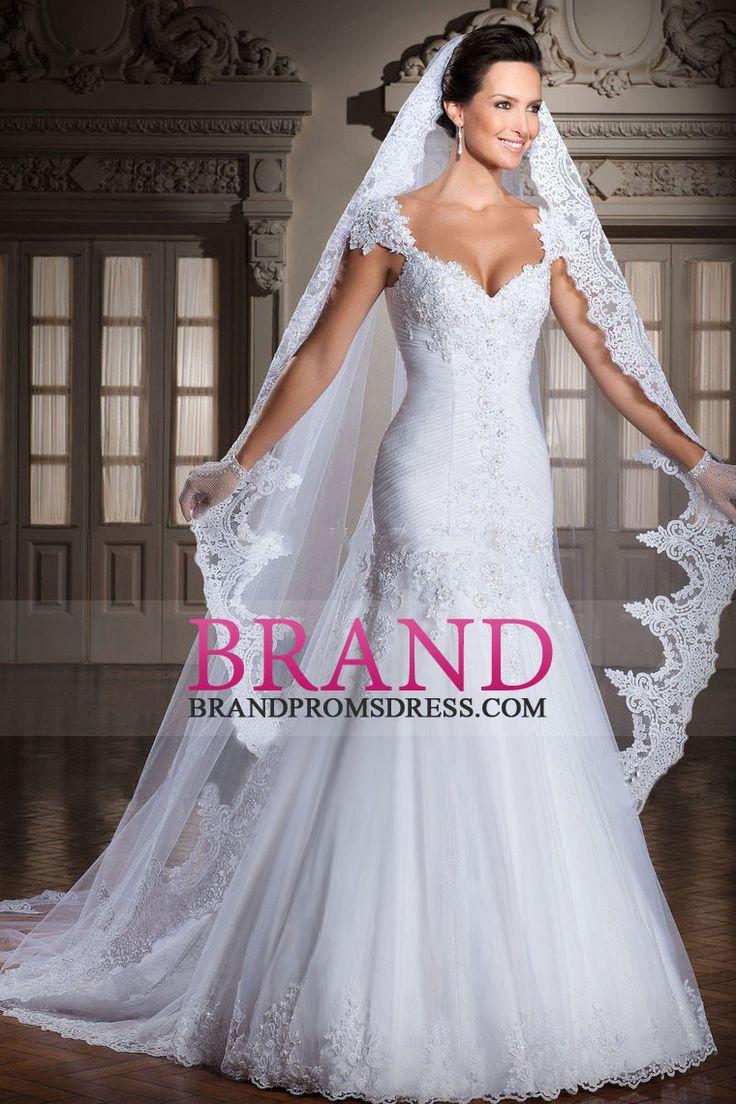 2016 Off The Shoulder Mermaid / Trumpet Vestidos de casamento corpete plissado Tulle US$ 319.99 BPPKZZYH72 - BrandPromsDress.com for mobile