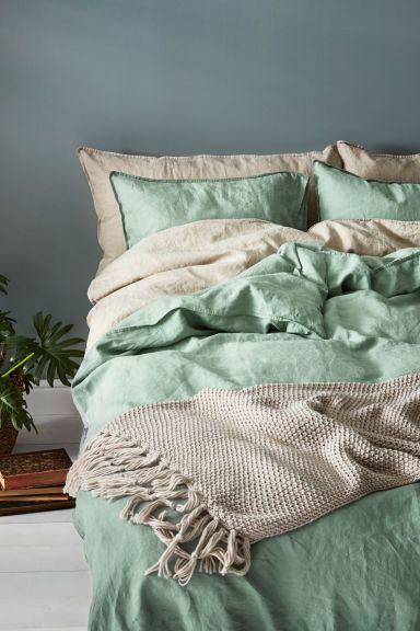 Постельное белье, стираный лен - Приглушенный зеленый - HOME | H&M RU