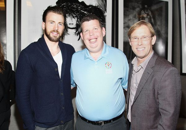 Chris Evans Photos Photos - (L-R) Actor Chris Evans, 2015 Special Olympics World Games Global Messanger Dustin Plunkett, and Gold Meets Golden Host Bart Conner attend CW3PR presents Gold Meets Golden at Equinox Sports Club on February 21, 2015 in Los Angeles, California. - CW3PR Presents Gold Meets Golden At Equinox Sports Club