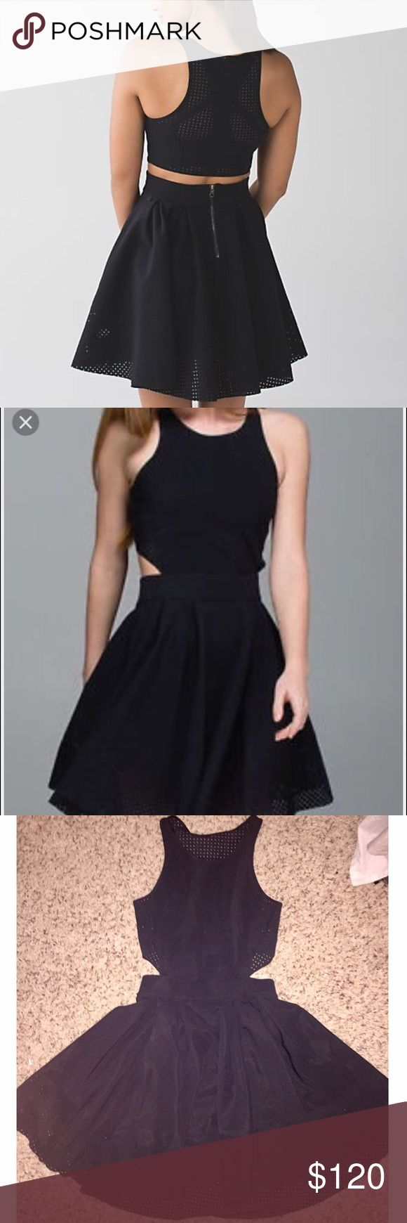 "✨LIKE NEW Lululemon ""The Away"" Dress (10/L/30.5"") This super cute lululemon dress is in great condition! It's a black Lycra material with mesh and cut out details. Seriously so cute and comfortable. I measured the waist and it's 30.5 inches, which is a women's size 10/Large, according to lululemon's size chart. Originally $198. lululemon athletica Dresses Mini"