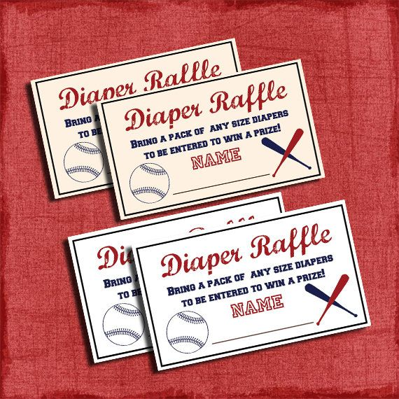 Printable Baseball Baby Shower Diaper Raffle Tickets  One Idea For A Game.  Especially For
