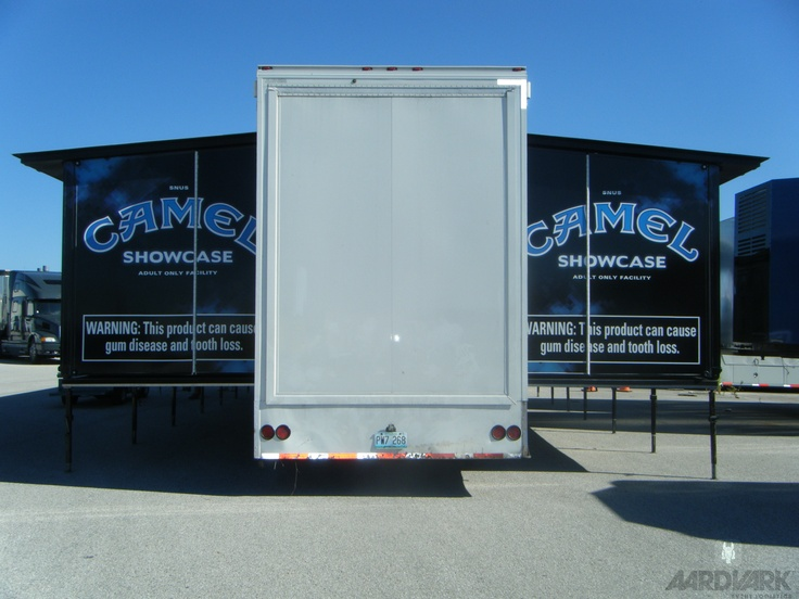 A double expandable trailer at the Dover NASCAR race.