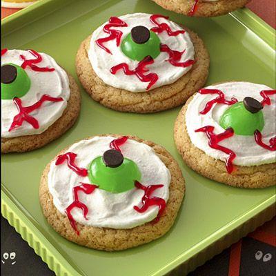 Eyeball Cookies: Eyeb Cookies, Halloween Parties, Recipes Recipes, Kids Food Recipes, Eyebal Cookies, Cookies Recipes, Halloween Eyeb, Green Eye, Halloween Cookies