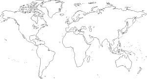World Map 2 Clip Art. Outlines for praying for the world with string art.