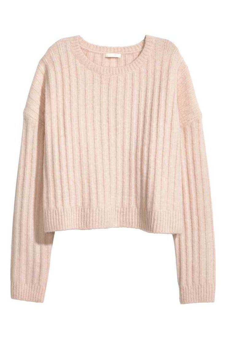 Knitted jumper: Short jumper in a soft rib knit containing some wool in a loose fit with low dropped shoulders and long sleeves.