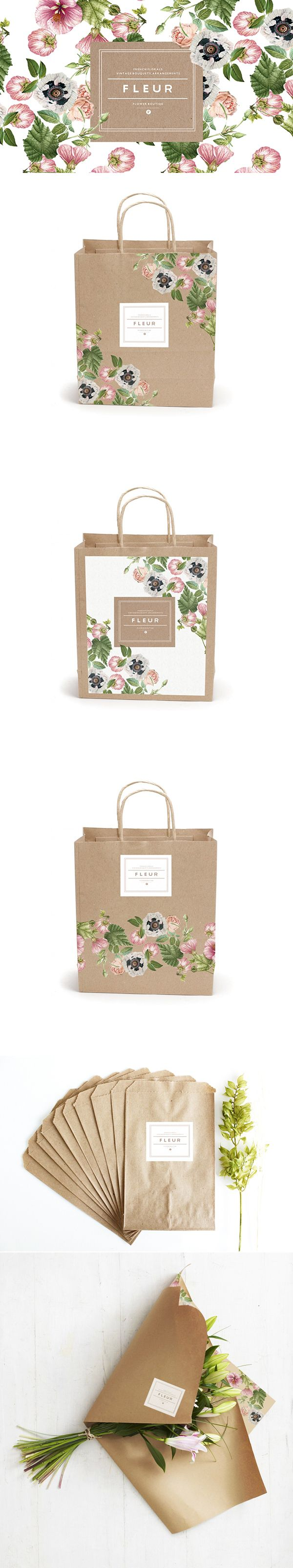 The feminine floral design looks beautiful on the earthy tone of brown kraft paper. The perfect bag for a florist! #bag #paperbag #baginspiration #retailbag