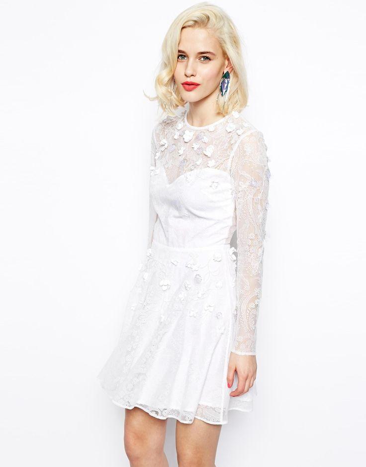 ASOS Lace Floral Embellished Skater Dress