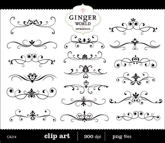 Invitation Flourish Clip Art Swirl Border Calligraphy