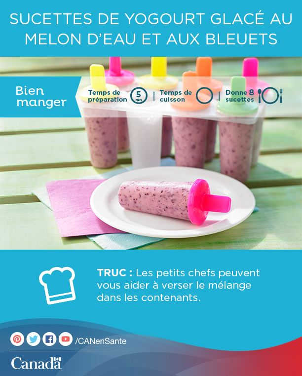 Gardez les enfants au frais et occupés en les laissant vous aider à préparer cette recette de  sucettes de yogourt glacé au melon d'eau et aux bleuets :  http://www.canadiensensante.gc.ca/eating-nutrition/healthy-eating-saine-alimentation/recipes-recettes/watermelon-yogurt-yogourt-melon-eau-fra.php?utm_source=pinterest_hcdns&utm_medium=social&utm_content=Aug31_yogurtpop_FR&utm_campaign=social_media_14