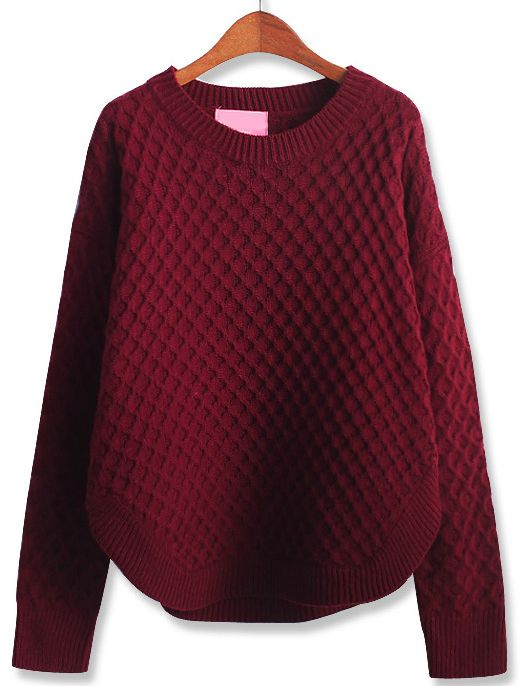 Wine Red Long Sleeve Diamond Patterned Loose Sweater - Sheinside.com