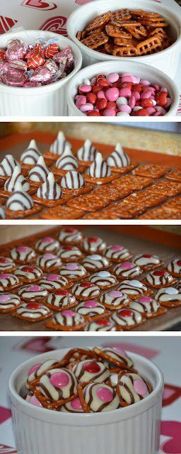 Pretzel Kisses! All you need is a square pretzel, a Hershey Hug, and a M and M. Bake in the oven at 200 degree for 3-4 minutes.