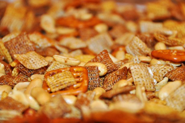 Clipped from the coupon section, the Chex Party Mix has a few more ingredients than the traditional Chex Mix.