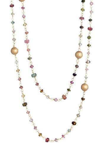 Long Multi-Tourmaline Rosary Necklace