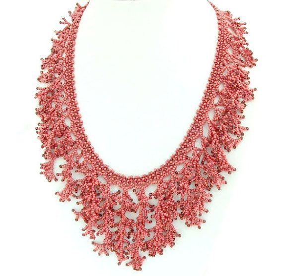 Red Coral Necklace, Fringe necklace, Fringe statement necklace, Coral statement necklace, Red statement necklace