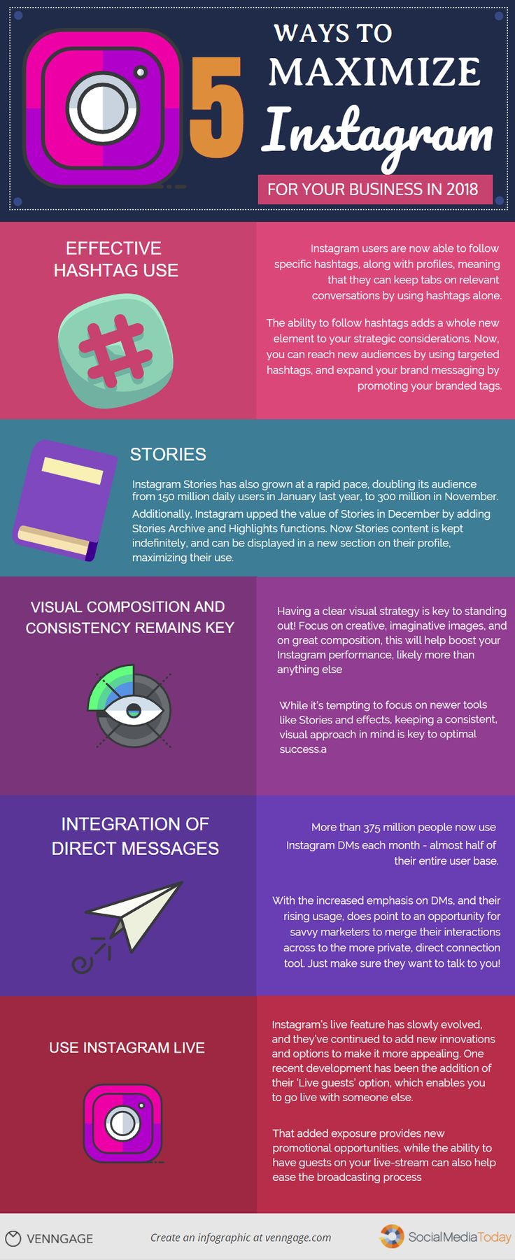 5 Ways to Maximize Instagram for Your Business in 2018 #Infographic #Business #ContentMarketing #SocialMedia