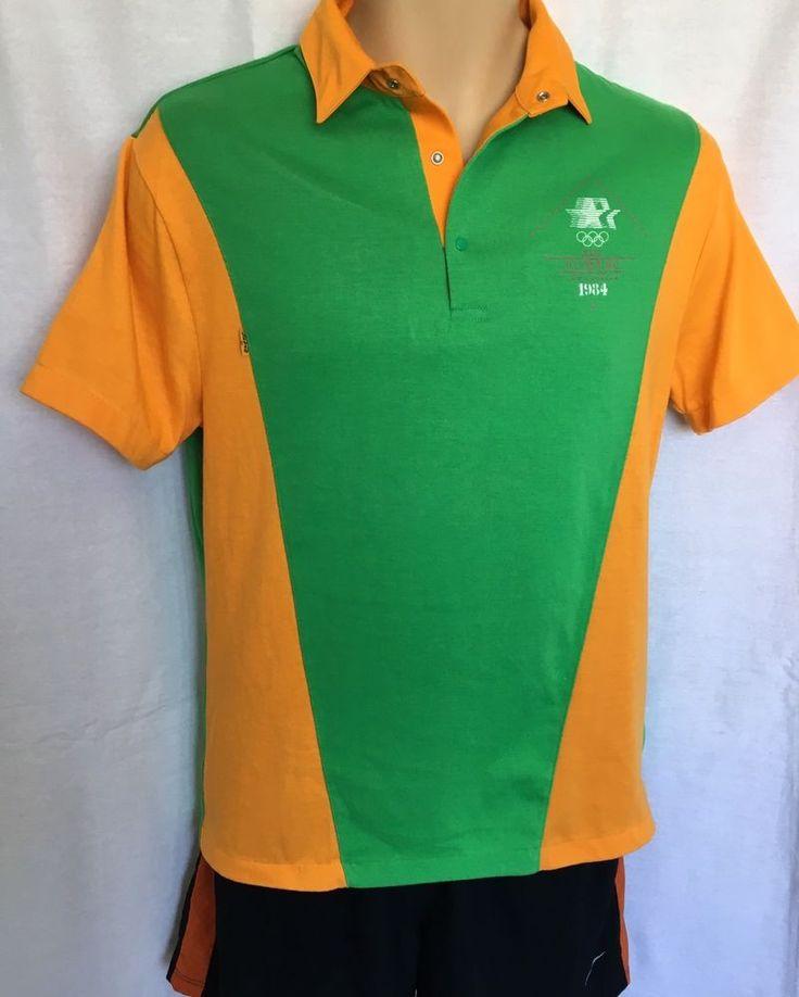 Vintage 1984 LEVIS Olympic Staff Uniform Polo Shirt Los Angeles Ml Green  | eBay