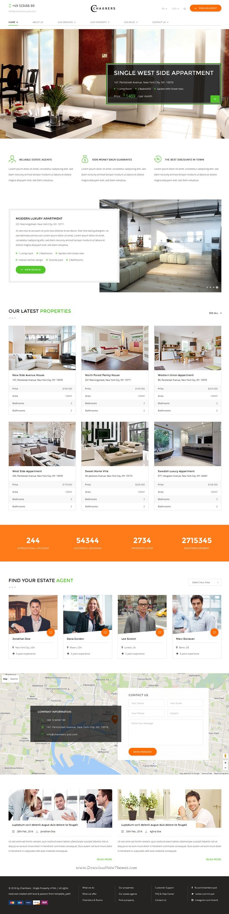 Chambers is a professionally coded responsive bootstrap template for property, rent, listing real estate website.