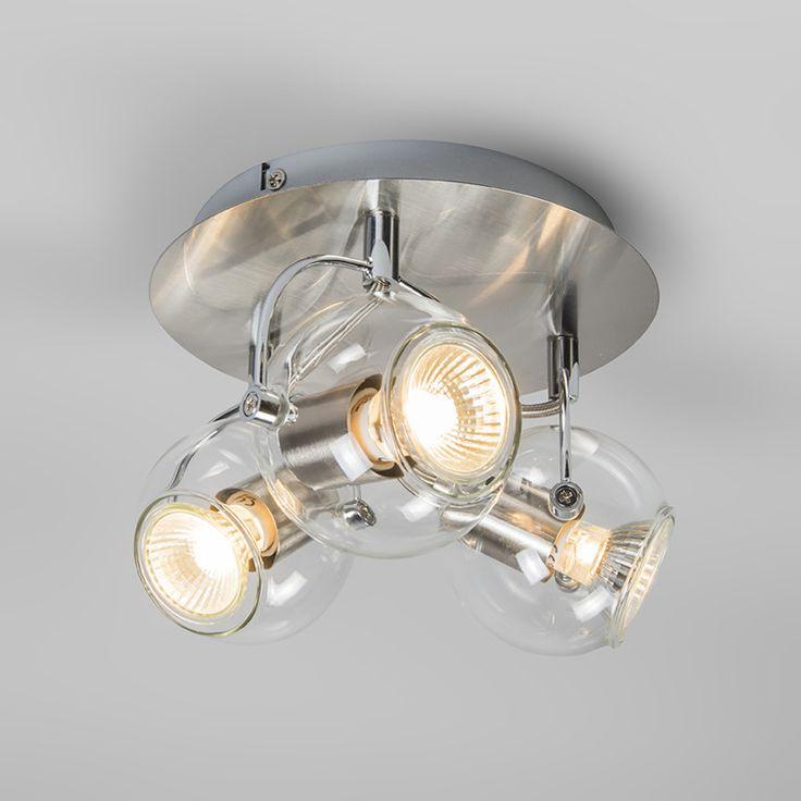 Plafond strålkastare 'Buell 3 R' Retro transparent/metall - Passande för LED / Inomhus