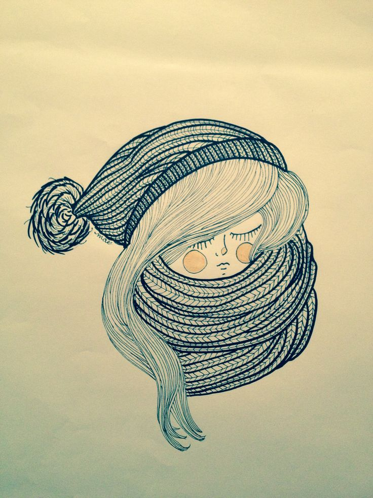 ready for winter drawing by emmaybee knit illustration