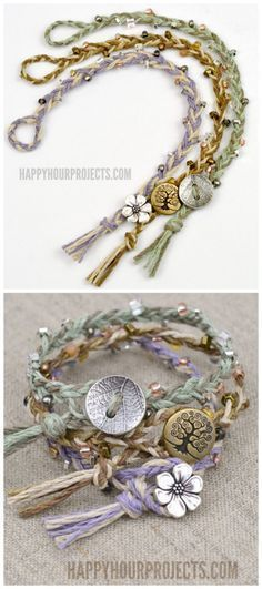 DIY Braided Bead Bracelet Tutorial from Happy Hour Projects.Bracelet DIYs from Happy Hour Projects are some of my favorite jewelry DIYs. This is a pretty simple DIY because all you need to know is how to make a 3 strand braid. I also like the decorative button that doubles as a the closure. For hundreds of DIY bracelets go here: truebluemeandyou.tumblr.com/tagged/bracelet #braceletsprojects