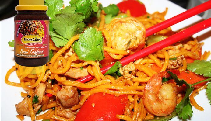 Javaanse spaghetti met garnalen
