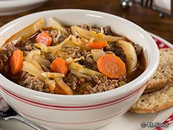 Low Carb Easy Hamburger Soup - Calories 138,  Calories from Fat 40, Total Fat 4.4g, Saturated Fat 1.7g, Trans Fat 0.3g,Protein 19g, Amount Per Serving % Daily Value * Cholesterol 47mg, Sodium 362mg, Total Carbohydrates 6.1g, Dietary Fiber 1.6g, Sugars 3.5g