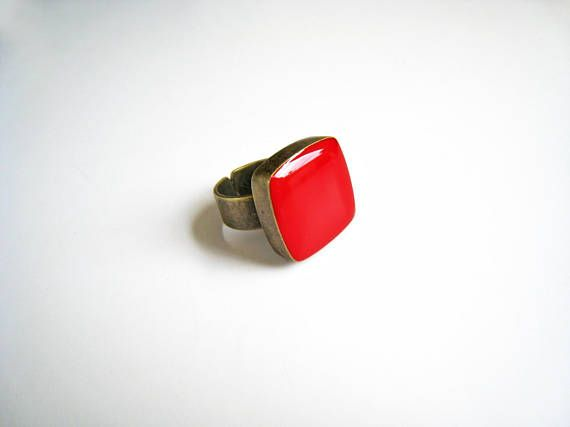 Ruby red ring bronze red statement ring red resin ring