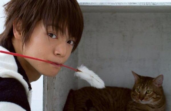 猫じゃらしを加えた窪田正孝。