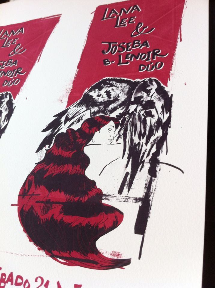 Lana Lee & Joseba B. Lenoir gig poster. Close up. By Niko Bleach.