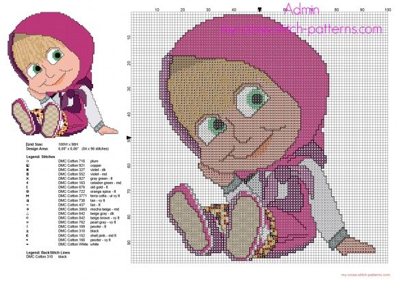 La bambina Masha seduta del cartone animato Masha e Orso schema punto croce