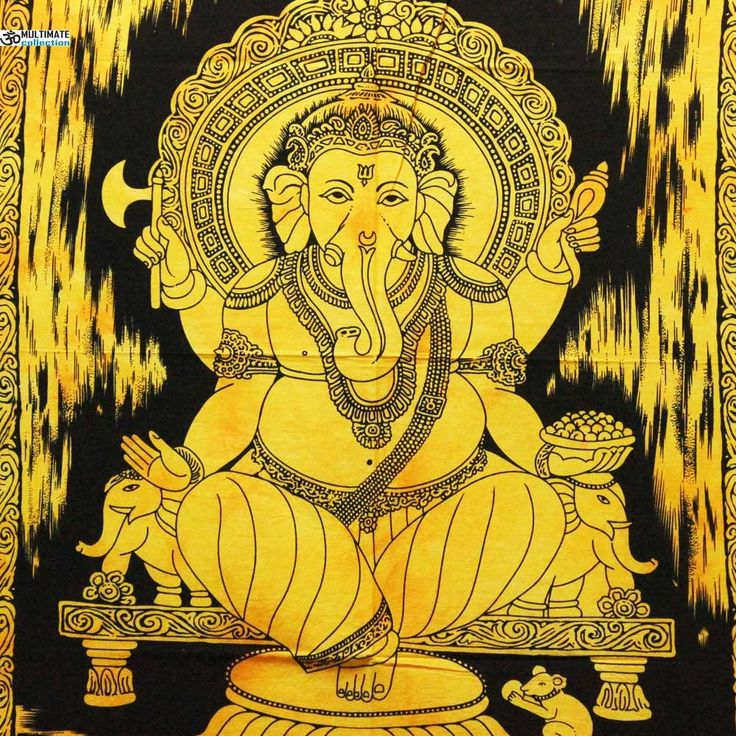 Yellow Ganesha Fabric Poster
