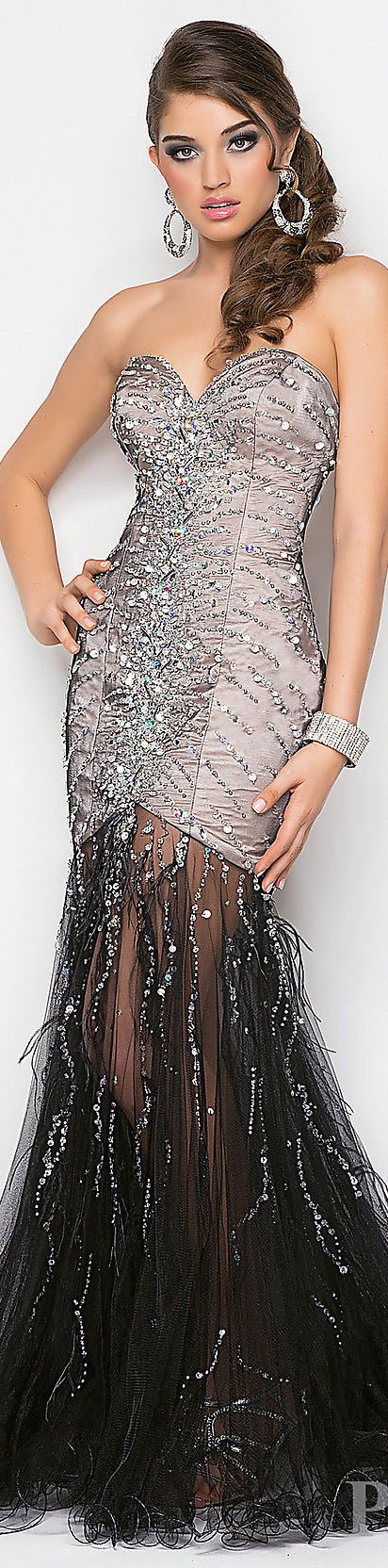 Fashion long formal dress #strapless #glitter #sexy