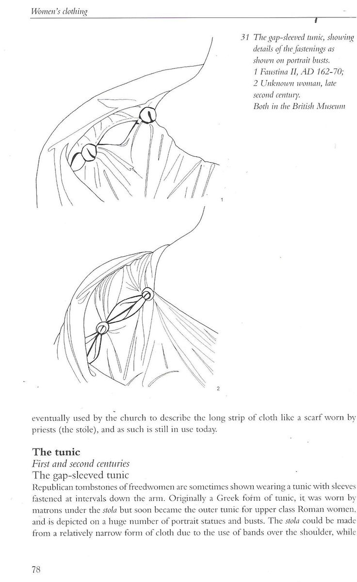 Book: Roman Clothing and Fashion by Crown. Different details on how the shoulder seams were gathered.