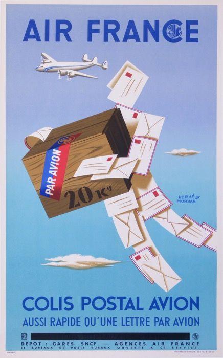 air france colis postal avion : 1950 affiches anciennes de MORVAN Hervé